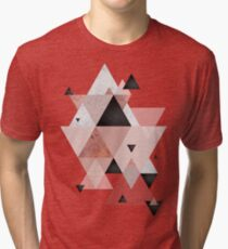 Geometric Compilation in Rose Gold and Blush Pink Tri-blend T-Shirt