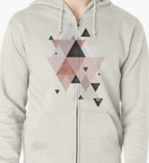 Geometric Compilation in Rose Gold and Blush Pink Zipped Hoodie