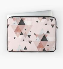 Geometric Compilation in Rose Gold and Blush Pink Laptop Sleeve