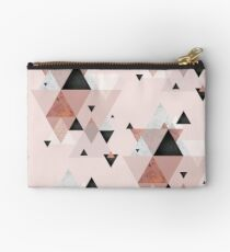 Geometric Compilation in Rose Gold and Blush Pink Studio Pouch