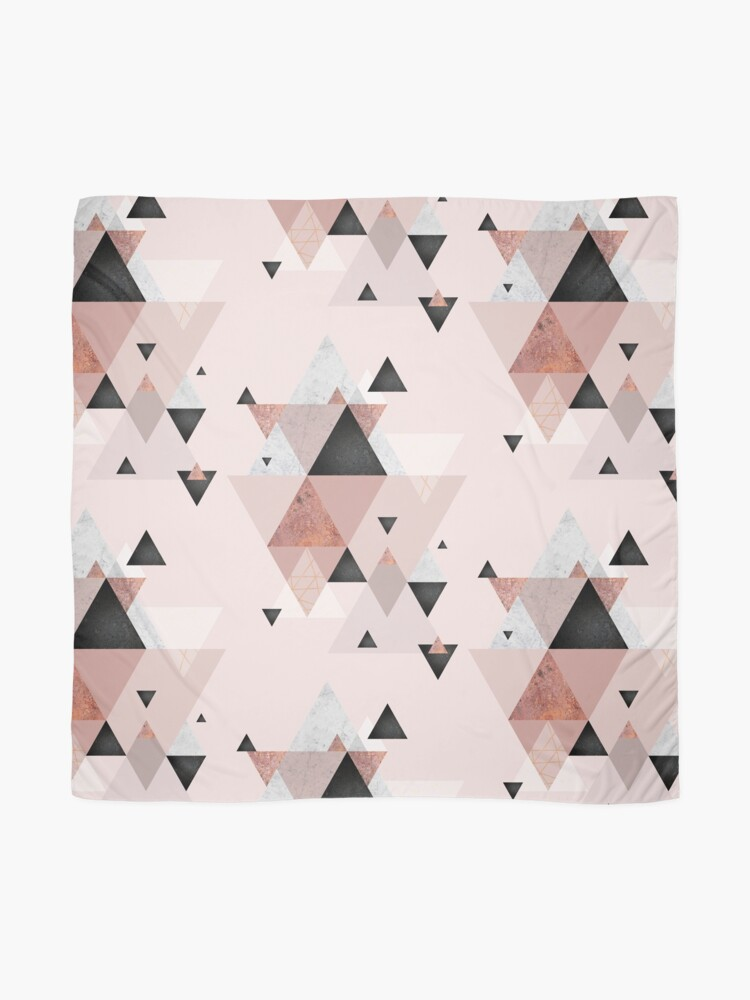 Alternate view of Geometric Compilation in Rose Gold and Blush Pink Scarf