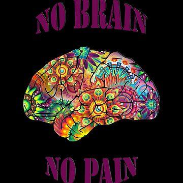 No Brain - No Pain (purple text on black) by ColorfulCortex