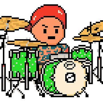 Rock Battle Tattooed Pixel Rock Drummer on Lime Green Drums by gkillerb