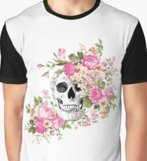 Pink Floral Skull Graphic T-Shirt
