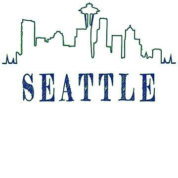 Artsy Seattle city skyline design by jhussar