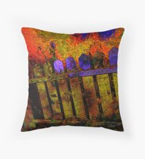 fenced in.... pushing color... Throw Pillow