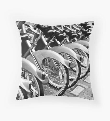 Paris Bikes Throw Pillow