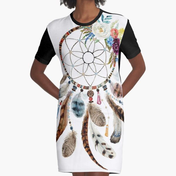Colorful flowers and feathers tribal dream catcher Graphic T-Shirt Dress