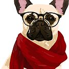 Hipster French Bulldog Sticker for Dog Lovers by haidishabrina