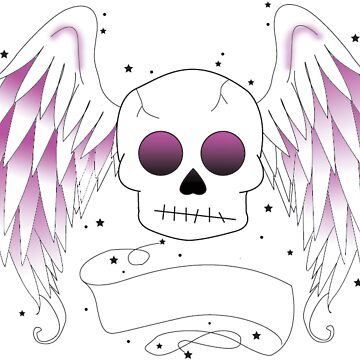 Skull with angel wings by kayleighsparks