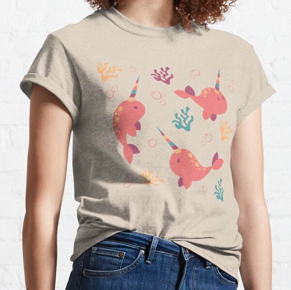 To the Window to the Narwhal - Coral & Cream Classic T-Shirt