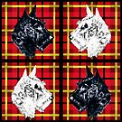 Black and White Scottish Terriers by Denise Beverly