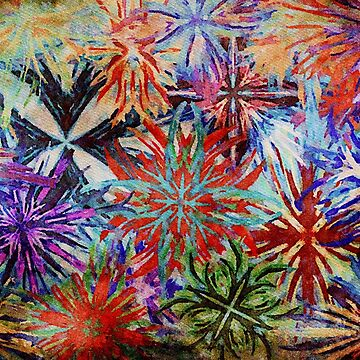 Gouache Abstract Colourbursts or Fireworks by Rasendyll