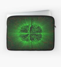 Green Glowing Brain Wired On Red Neural Surface Or Electronic Conductors Laptop Sleeve