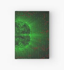 Green Glowing Brain Wired On Red Neural Surface Or Electronic Conductors Hardcover Journal