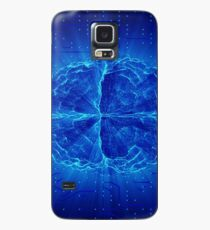 Blue Glowing Brain Wired On Neural Surface Or Electronic Conductors Case/Skin for Samsung Galaxy