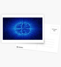 Blue Glowing Brain Wired On Neural Surface Or Electronic Conductors Postcards