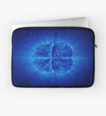 Blue Glowing Brain Wired On Neural Surface Or Electronic Conductors Laptop Sleeve