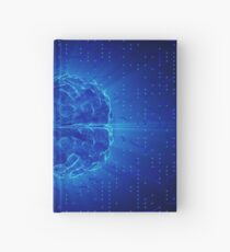 Blue Glowing Brain Wired On Neural Surface Or Electronic Conductors Hardcover Journal