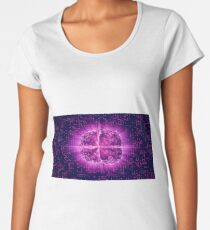Purple Glowing Brain Wired On Neural Surface Or Electronic Conductors Women's Premium T-Shirt