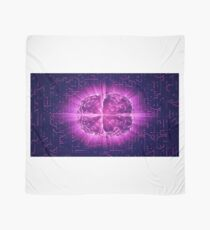 Purple Glowing Brain Wired On Neural Surface Or Electronic Conductors Scarf