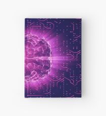 Purple Glowing Brain Wired On Neural Surface Or Electronic Conductors Hardcover Journal