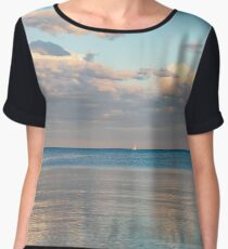 Glossy Rose Gold and Sapphire Blue - Waterside Relaxation Zone Chiffon Top