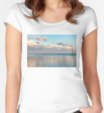 Glossy Rose Gold and Sapphire Blue - Waterside Relaxation Zone Women's Fitted Scoop T-Shirt