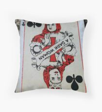 The Playing Cards - Queen of Clubs - A Dark Woman Throw Pillow