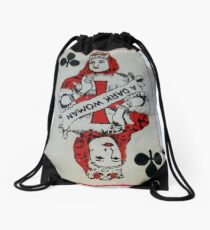 The Playing Cards - Queen of Clubs - A Dark Woman Drawstring Bag