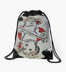 The Playing Cards - Queen of Spades - A Very Dark Woman Drawstring Bag