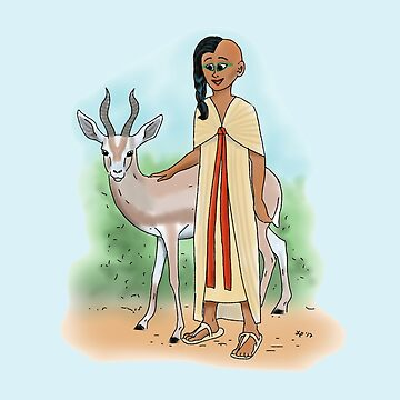 Tutankhamun's Sister With a Gazelle by Leenasart