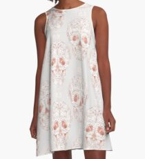 Blushing rose skulls A-Line Dress