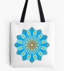 Mandala fleurs bleu, jaune, orange Tote bag