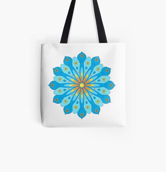 Mandala fleurs bleu, jaune, orange Tote bag doublé