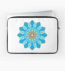 Mandala fleurs bleu, jaune, orange Housse de laptop