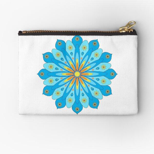 Mandala fleurs bleu, jaune, orange Pochette