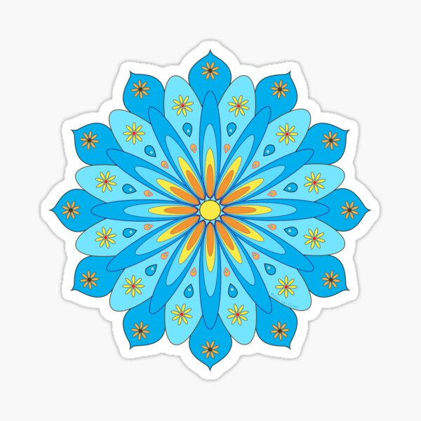 Mandala fleurs bleu, jaune, orange Sticker