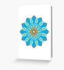 Mandala fleurs bleu, jaune, orange Carte de vœux