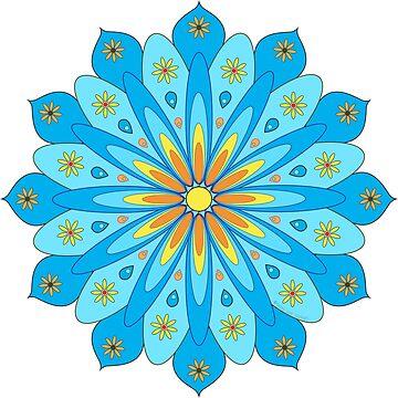 «Mandala fleurs bleu, jaune, orange» par RosaLeeDesign