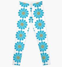 Mandala fleurs bleu, jaune, orange Leggings