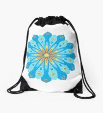 Mandala fleurs bleu, jaune, orange Sac à cordon