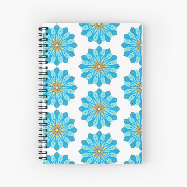 Mandala fleurs bleu, jaune, orange Cahier à spirale