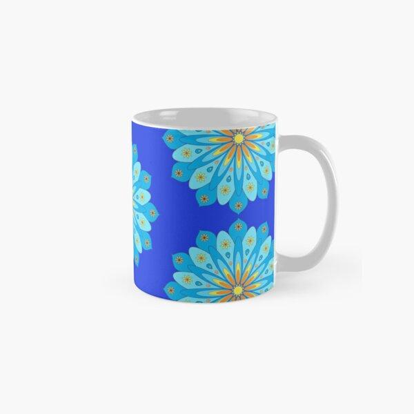 Mandala fleurs bleu, jaune, orange Mug classique