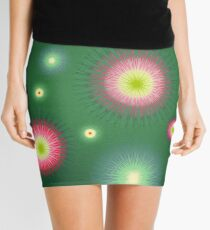 Abstract flowers over dark green graduated background. Spring and summer concept. Mini Skirt