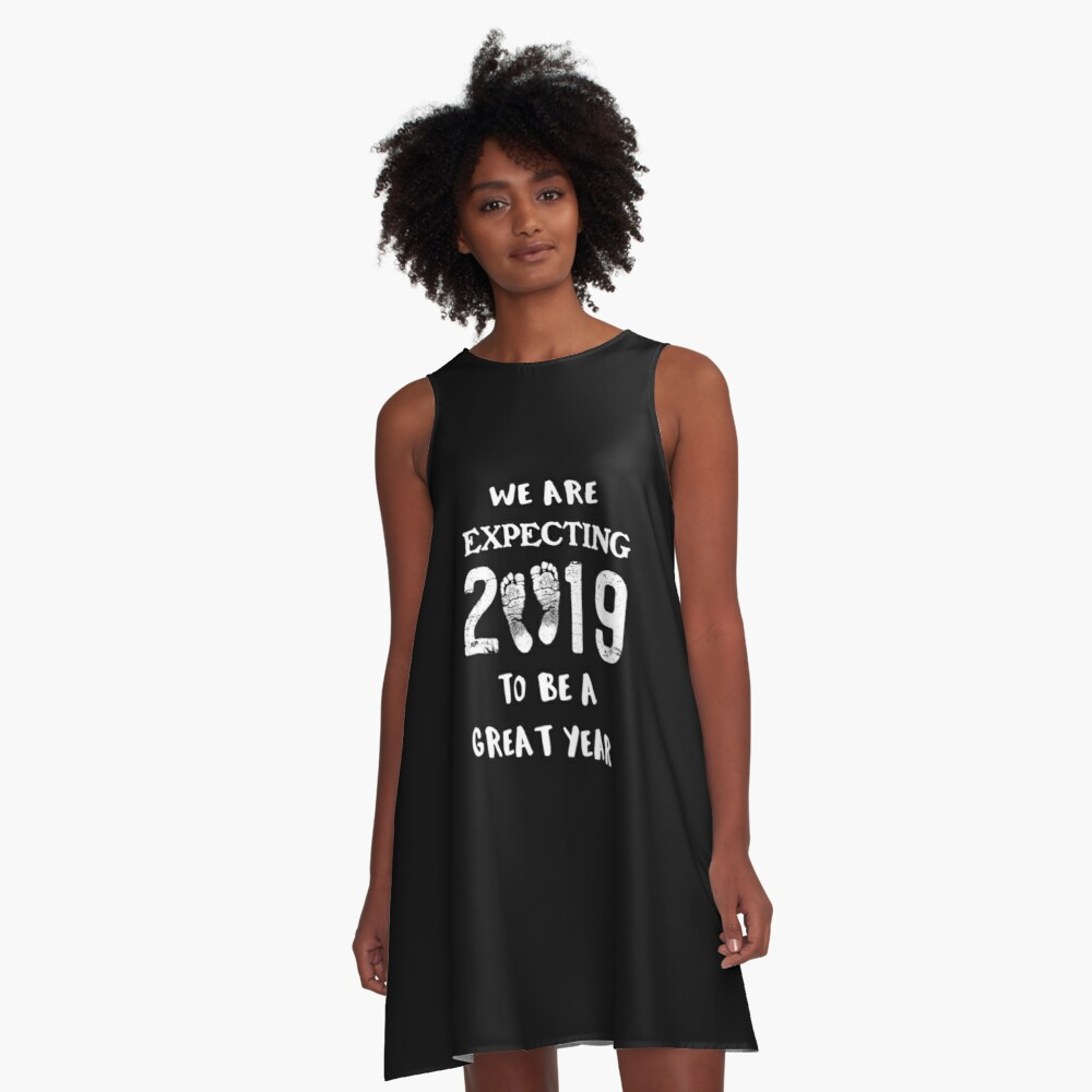 45a71f63216f4 Pregnancy Reveal Baby Announcement New Year 2019 A-Line Dress. Designed by  RiffXS