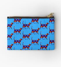 Blue and red spiral cat2 Studio Pouch
