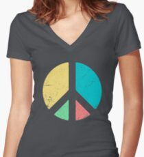 PEACE SIGN LOVE T Shirt 60s 70s Tie Die Hippie Costume Shirt Women's Fitted V-Neck T-Shirt