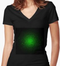 Glowing High Energy Particles Flowing Inside A Sphere Women's Fitted V-Neck T-Shirt