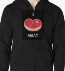 """Meat in the form of heart. """"I like meat"""" Zipped Hoodie"""